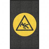 """Мат с логотипом чёрный 900x1500мм вертикальный с логотипом """"Осторожно скользкая поверхность"""""""