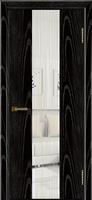 Дверь модель Кмелия К4 Черная эмаль тон 26 стекло водопад